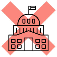 Icon of capitol with a red X