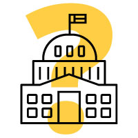Icon of Capitol building with a yellow question mark