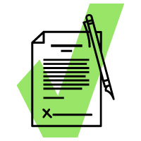 Icon of bill with a green checkmark