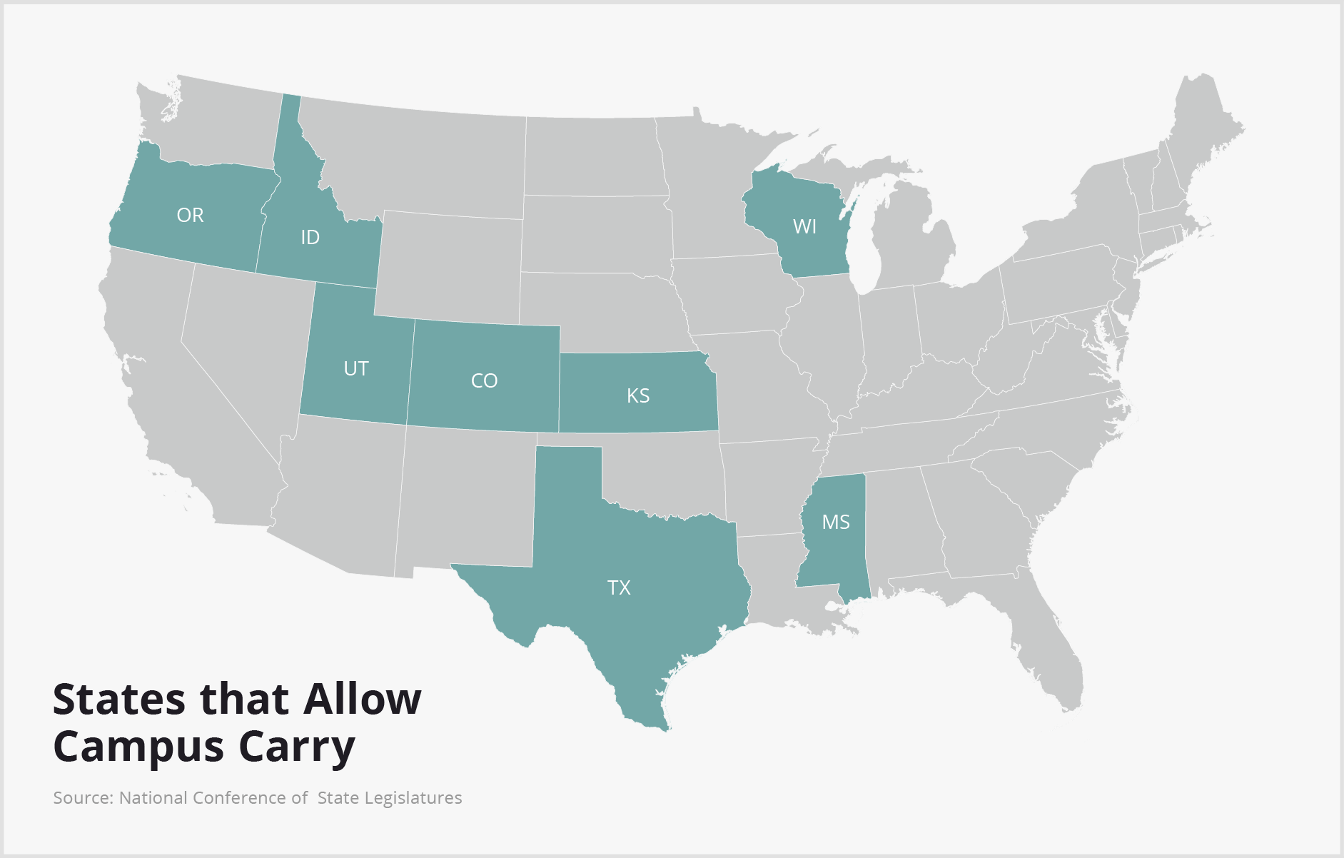 With Texas Now A Campus Carry State Heres What You Need To Know - Us open carry map